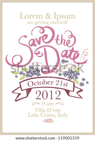 save the date invitation template vector/illustration