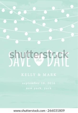 Shutterstock Save the Date Invitation with String Lights Card