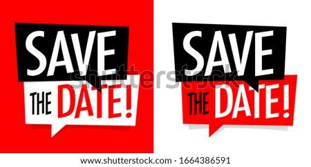 Save the date on speech bubble Сток-фото ©
