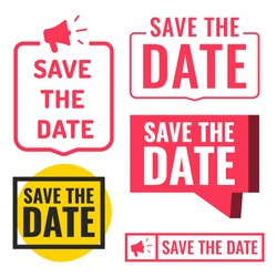 Save the date. Set of badges, icons. Vector illustrations on white background.