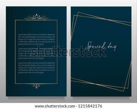 SAVE THE DATE SPECIAL EVENT CARD VECTOR TEMPLATE GOLDEN FRAME ( ROYAL THEME ) vector element for wedding card / birthday card and for special events