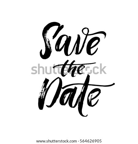 Save the date text calligraphy vector lettering for wedding or love card