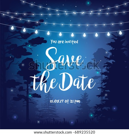 Save the date vector illustration with night starry sky, trees, forest and party hanging lights