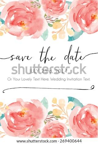 Save The Date Watercolor Vector Invitation.