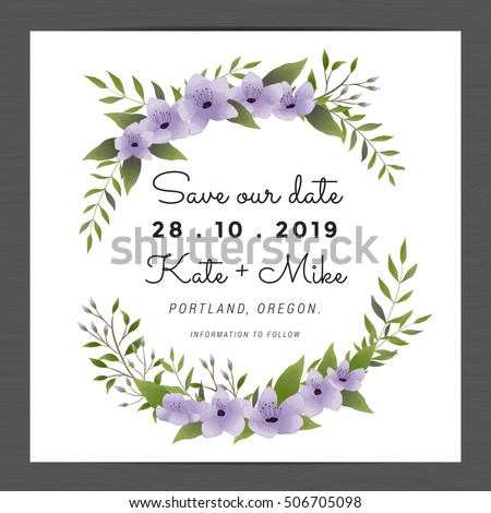 Save The Date Wedding Invitation Card Template Decorate With Purple