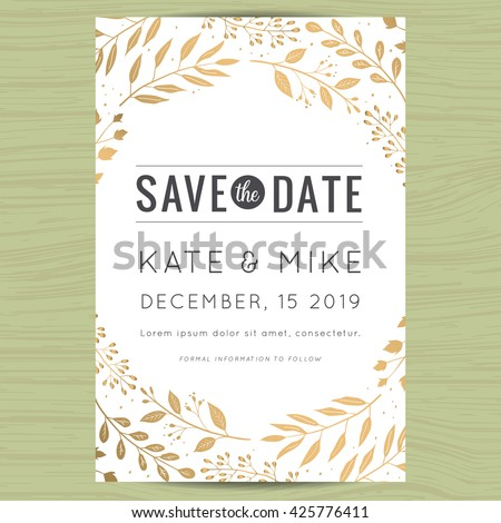 Save the date wedding invitation card template with golden flower floral background. Vector illustration.