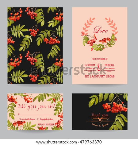 Save the Date - Wedding Invitation or Congratulation Card Set - Ash Berry Autumn Floral Theme - in Vector #479763370