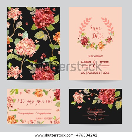 Save the Date - Wedding Invitation or Congratulation Card Set - Hortensia Flowers Theme - in vector #476504242
