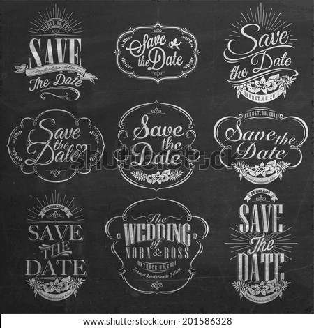 Shutterstock Save The Date, Wedding Invitation Vintage Typographic Design Elements On Chalkboard