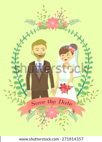 Save the Date Wedding invitation with bride and groom holding their hand in flower theme and yellow background. #271814357