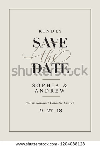 "Save the date wedding template with classy and elegant cursive ""the"""