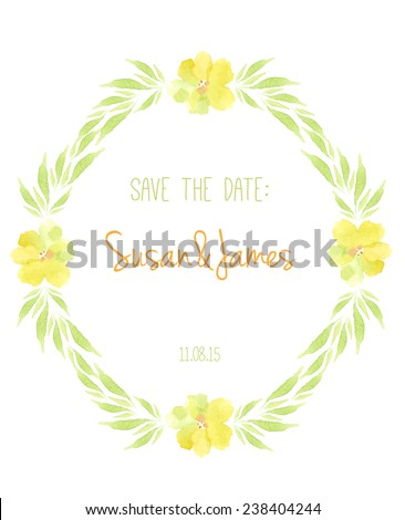Save The Date with yellow flowers. Hand Drawn Flower Wedding Invitation.