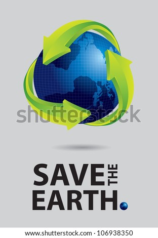 Save the earth canvas, world and recycle sign on gray background
