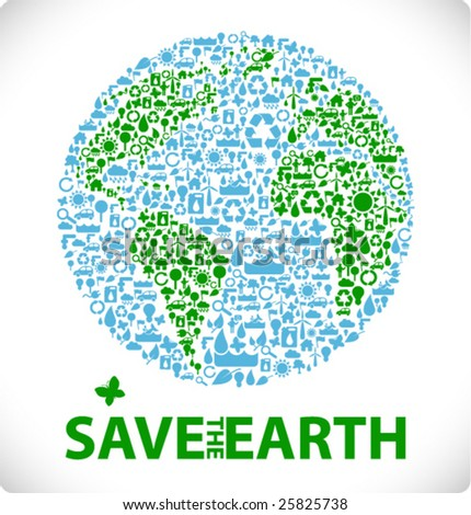 save the earth - earth made from ecology icons sustainable development & environment concept