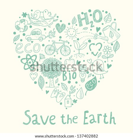 Save the earth ecology concept card in cartoon style romantic