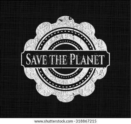 Save the Planet chalkboard emblem