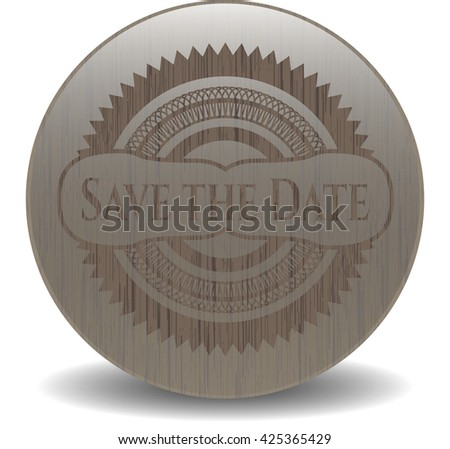 Save the Planet retro wooden emblem
