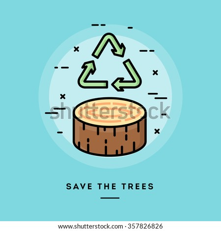 save the trees  flat design