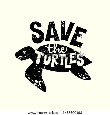 save the turtles hand drawn