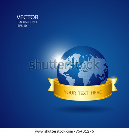 Save the world blue globe with gold ribbon, vector illustration