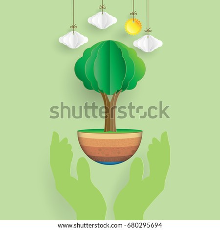 Save the world.Hand holding the nature with eco environment concept design paper art style.Vector illustration.