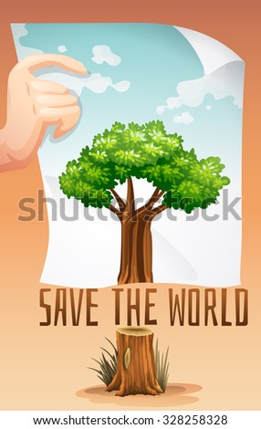 Save the world theme with tree and paper illustration