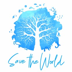 Save the world vector illustration. Blue planet earth tree with plants and animals silhouette.