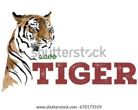 Save Tiger vector poster created on 3rd July