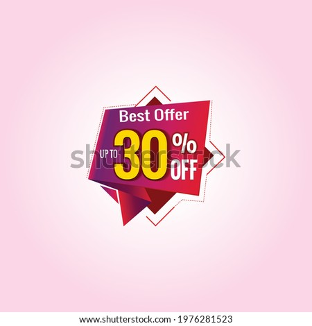 Save up to 30%, 60% Off Logo. Discount Sale offer price banner. Special offer graphics. Best Offer Mnemonic with modern elements. Eid Sale offer logo design.