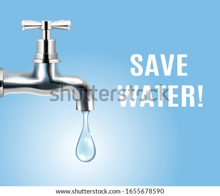 Save water advertising ecology concept background with drop of water coming out of tap realistic vector illustration  Foto stock ©