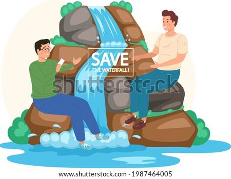 save waterfalls concept  rock