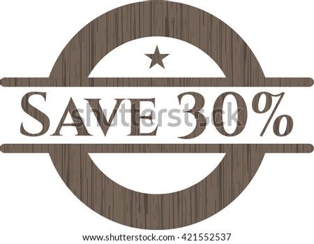Save 30% wood emblem. Vintage.