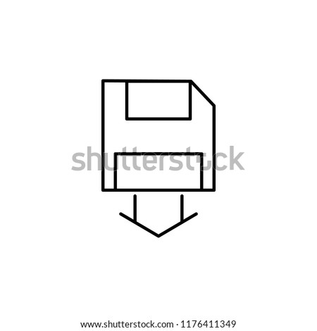 saving diskette data icon. Element of seo and online marketing icon for mobile concept and web apps. Thin line saving diskette data icon can be used for web and mobile