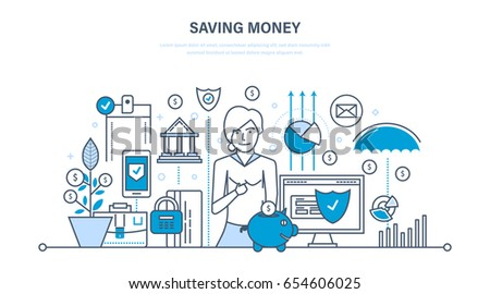 Saving money, finance, banking, online payment, online commerce, investments. Illustration thin line design of vector doodles, infographics elements.