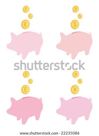 saving money in pink piggybanks