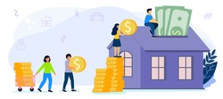 Saving to buy a house or home savings vector illustration concept Planning savings money to buy a home Real estate or property investment Mortgage concept House loan or money investment to real estate