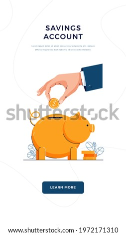 Savings account vector illustration. Hand is putting coin into the piggy bank for saving money. financial services, money management business, savings account concept. Flat cartoon design Photo stock ©