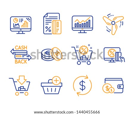 Savings, Add purchase and Credit card icons simple set. Analytics graph, Usd exchange and Shopping cart signs. Online shopping, Statistics and Cashback card symbols. Line savings icon. Colorful set