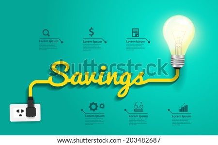 Savings concept, Creative light bulb idea abstract infographic layout, diagram, step up options, Vector illustration modern design template