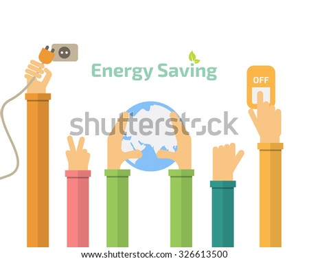 Savings Concept Switch Off Energy Idea Abstract Infographic Layout Vector Illustration