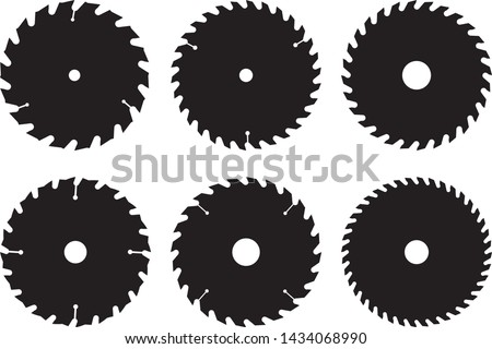 Saw blades for woodworking machine. Flat icons. Silhouette vector Сток-фото ©