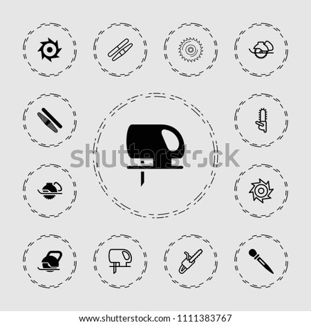 Saw icon. collection of 13 saw filled and outline icons such as electric saw. editable saw icons for web and mobile.