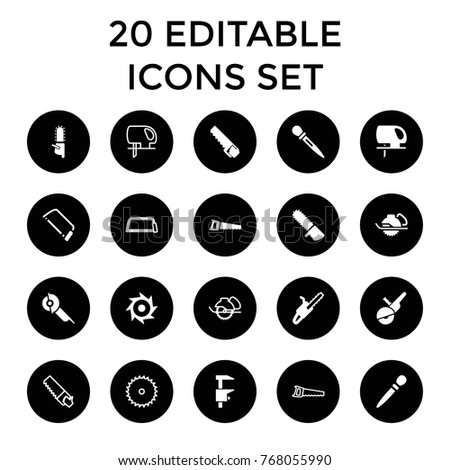 Saw icons. set of 20 editable filled and outline saw icons such as nail sawing, hacksaw
