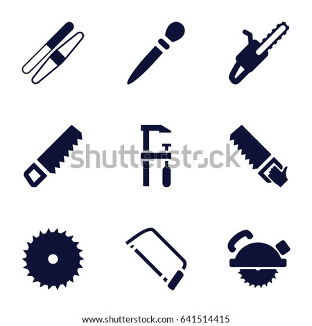 Saw icons set. set of 9 saw filled icons such as nail sawing, sawing, saw
