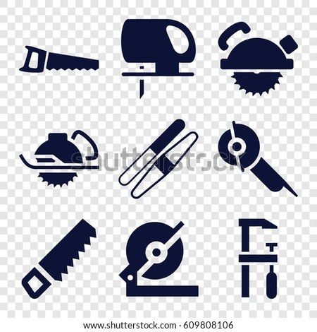 Saw icons set. set of 9 saw filled icons such as sawing