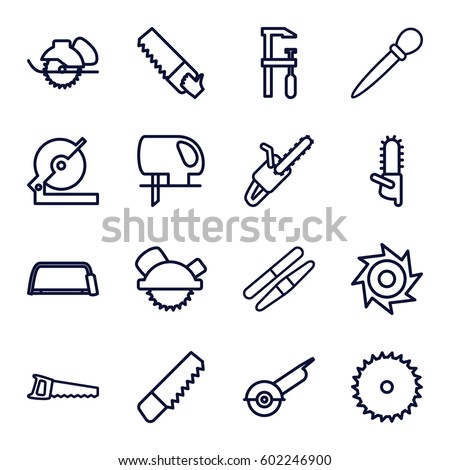 saw icons set. Set of 16 saw outline icons such as nail sawing, sawing, saw