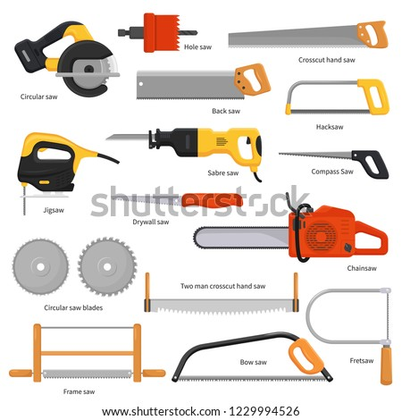 Saw vector sawing equipment hand-saw hacksaw chainsaw and pullsaw sawdust carpentry metal tool with sharp blade for construction fretsaw bow-saw jigsaw illustration set isolated on white background