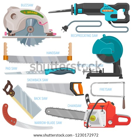 Saw vector sawing equipment hand-saw hacksaw chainsaw and pullsaw sawdust carpentry metal tool with sharp blade for construction illustration set isolated on white background