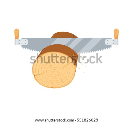 Sawing logs two handed saw. Repair tool. Woodcutter, lumberjack, builder or carpenter instruments. Woodworking process vector illustration. Handmade work isolated on white.