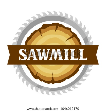 Sawmill label with wood stump and saw. Emblem for forestry and lumber industry.